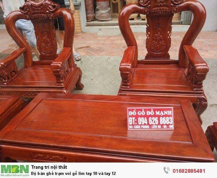 Bộ bàn ghế phòng khách trạm voi gỗ lim6