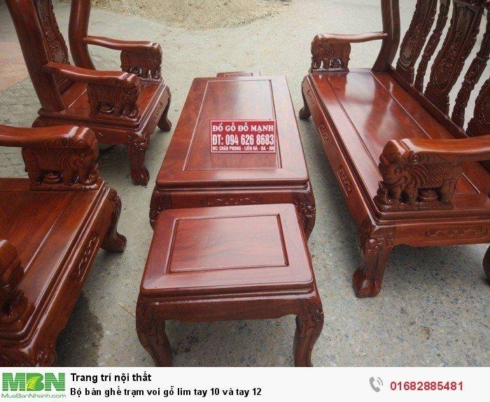 Bộ bàn ghế phòng khách trạm voi gỗ lim7