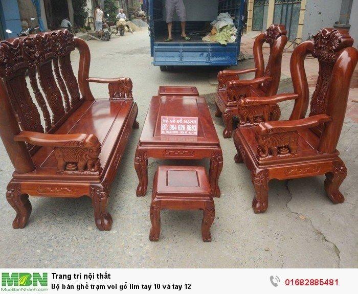Bộ bàn ghế phòng khách trạm voi gỗ lim8