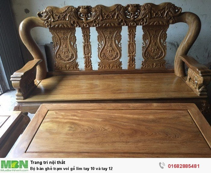 Bộ bàn ghế phòng khách trạm voi gỗ lim11