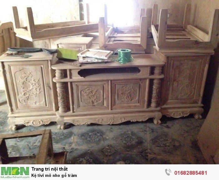 Kệ Tivi gỗ tràm kệ cột nho - phun PU giả mun , giả hương1