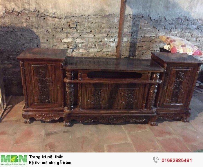 Kệ Tivi gỗ tràm kệ cột nho - phun PU giả mun , giả hương2