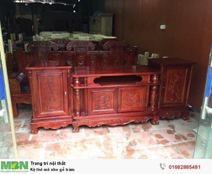 Kệ Tivi gỗ tràm kệ cột nho - phun PU giả mun , giả hương3