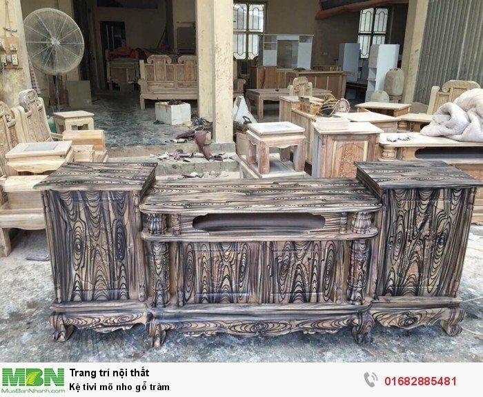 Kệ Tivi gỗ tràm kệ cột nho - phun PU giả mun , giả hương4