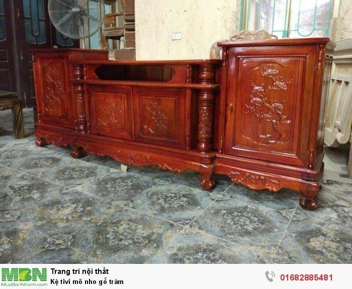 Kệ Tivi gỗ tràm kệ cột nho - phun PU giả mun , giả hương5