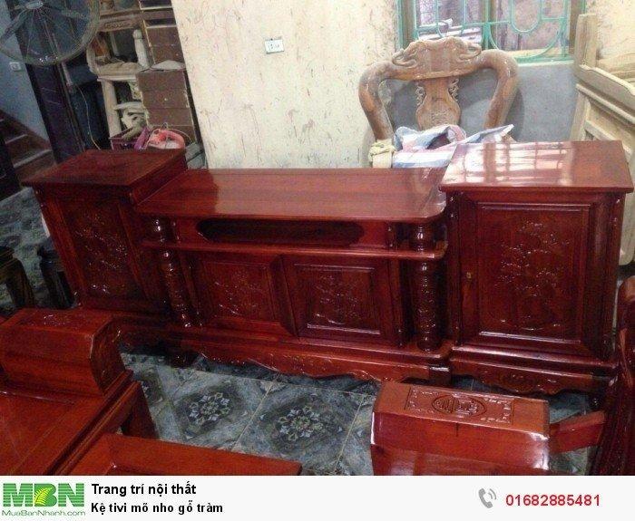 Kệ Tivi gỗ tràm kệ cột nho - phun PU giả mun , giả hương6