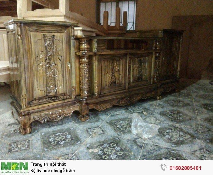 Kệ Tivi gỗ tràm kệ cột nho - phun PU giả mun , giả hương8