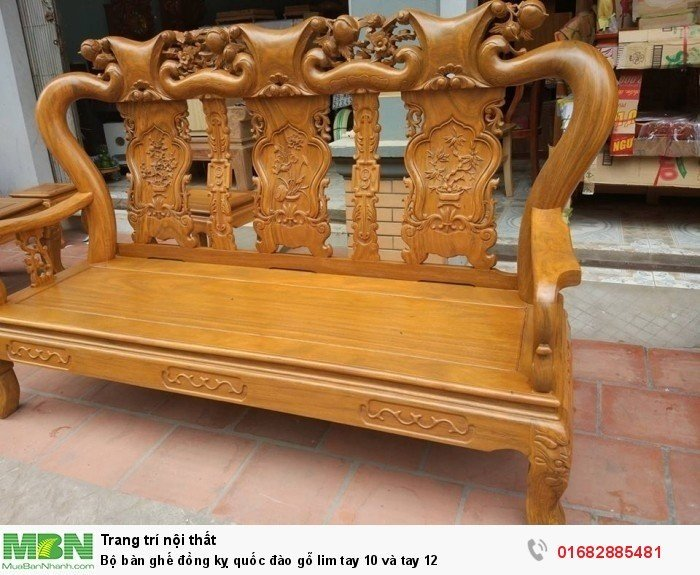 Bộ bàn ghế trạm đào gỗ lim8