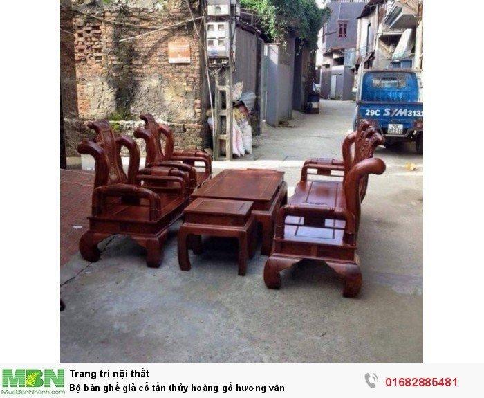 Bộ bàn ghế giả cổ tần thủy hoàng gỗ hương vân1