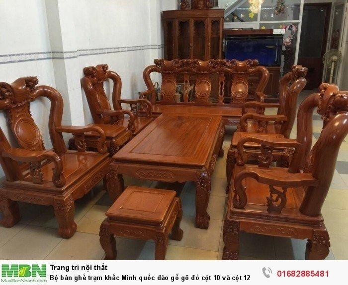 Bộ bàn ghế giả cổ trạm quốc đào gỗ gõ đỏ1