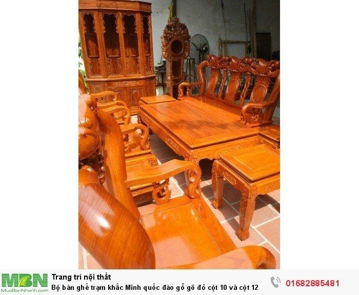 Bộ bàn ghế giả cổ trạm quốc đào gỗ gõ đỏ2