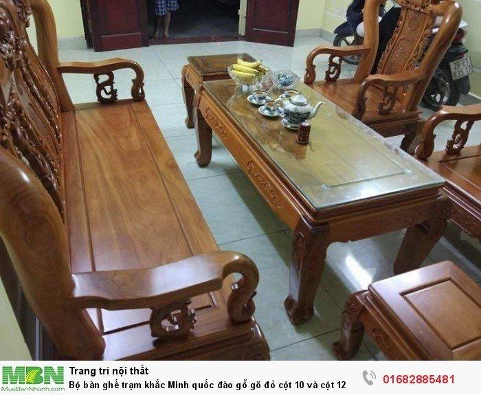 Bộ bàn ghế giả cổ trạm quốc đào gỗ gõ đỏ3