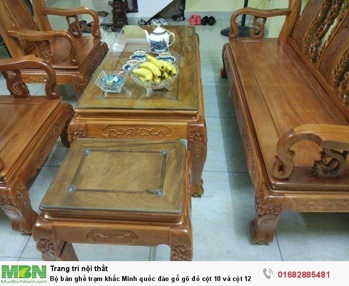 Bộ bàn ghế giả cổ trạm quốc đào gỗ gõ đỏ5
