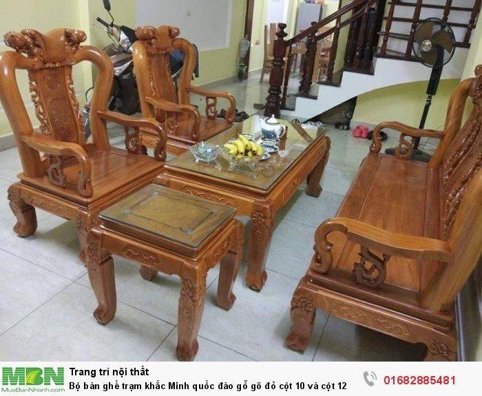 Bộ bàn ghế giả cổ trạm quốc đào gỗ gõ đỏ6