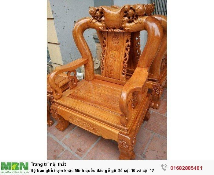 Bộ bàn ghế giả cổ trạm quốc đào gỗ gõ đỏ10
