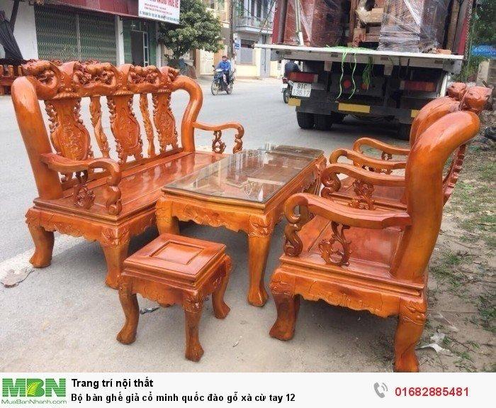 Bộ bàn ghế giả cổ minh quốc đào gỗ xà cừ tay 120