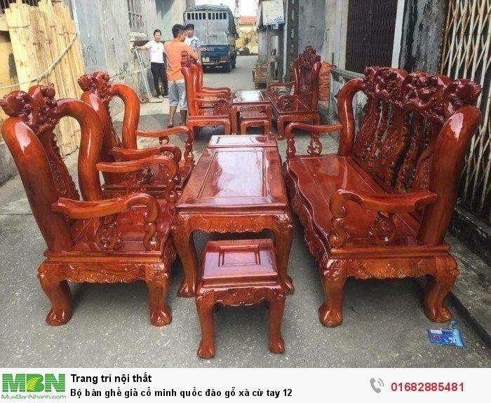 Bộ bàn ghế giả cổ minh quốc đào gỗ xà cừ tay 121