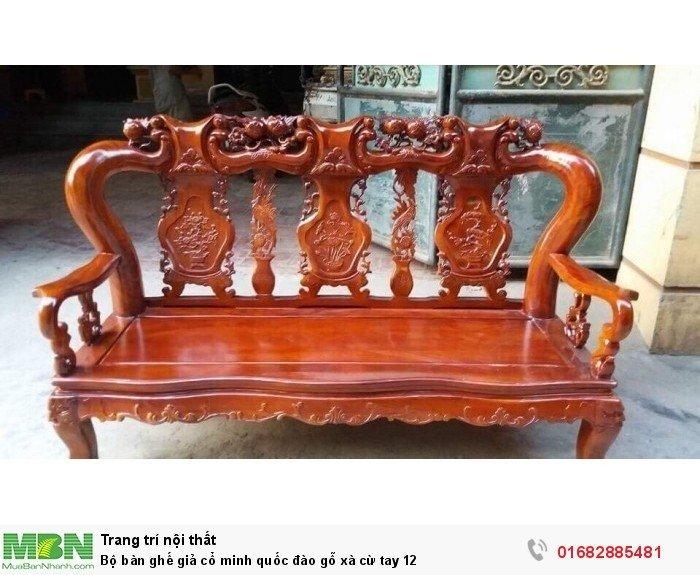 Bộ bàn ghế giả cổ minh quốc đào gỗ xà cừ tay 122