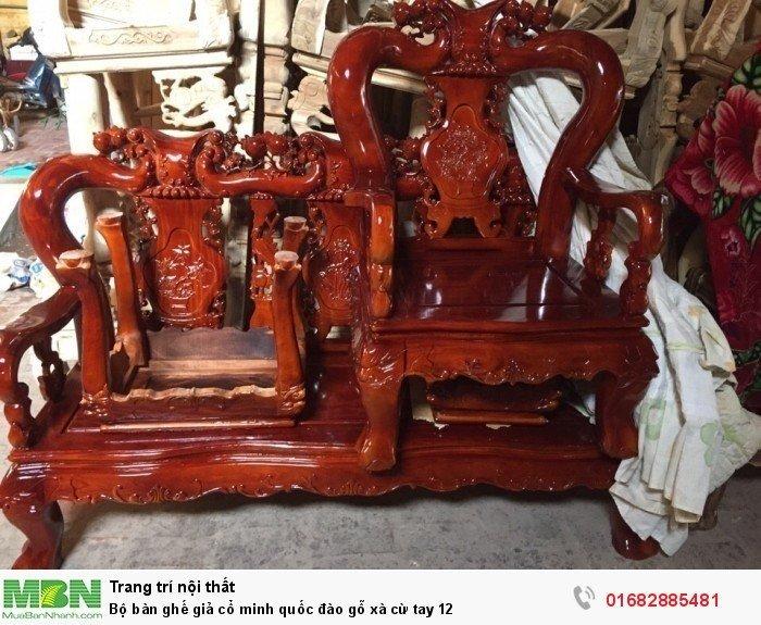 Bộ bàn ghế giả cổ minh quốc đào gỗ xà cừ tay 123