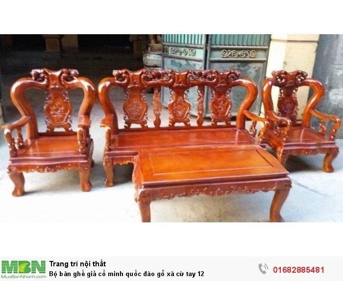 Bộ bàn ghế giả cổ minh quốc đào gỗ xà cừ tay 124
