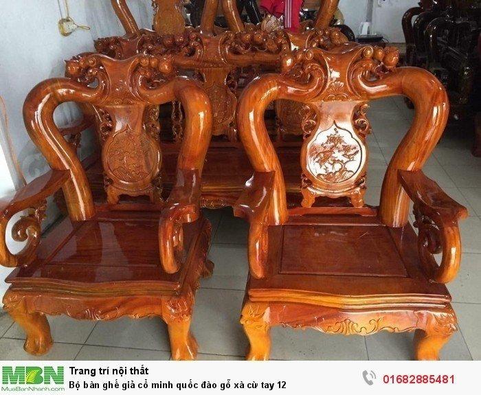 Bộ bàn ghế giả cổ minh quốc đào gỗ xà cừ tay 126