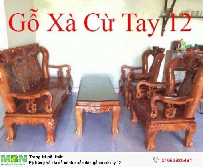 Bộ bàn ghế giả cổ minh quốc đào gỗ xà cừ tay 128