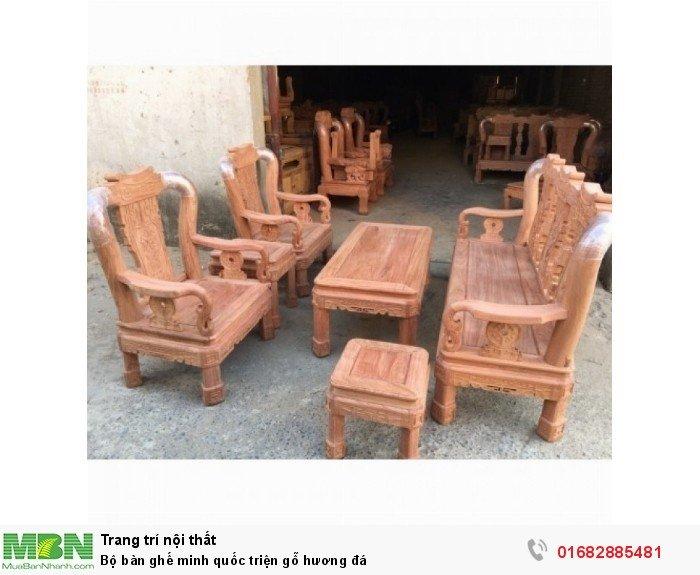 Bộ Bàn Ghế Minh Quốc Triện gỗ hương đá0