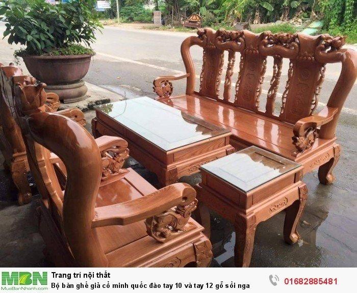Bộ bàn ghế giả cổ trạm đào gỗ sồi nga0