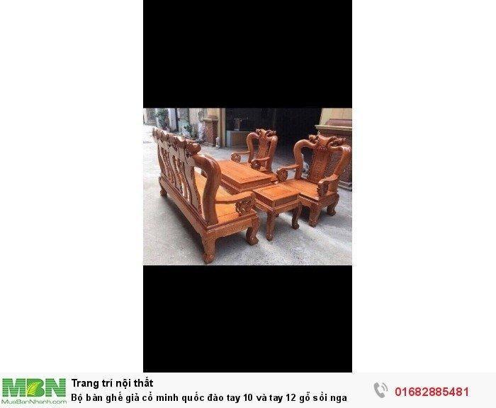 Bộ bàn ghế giả cổ trạm đào gỗ sồi nga1