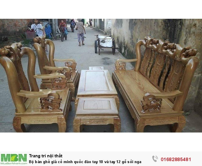 Bộ bàn ghế giả cổ trạm đào gỗ sồi nga2