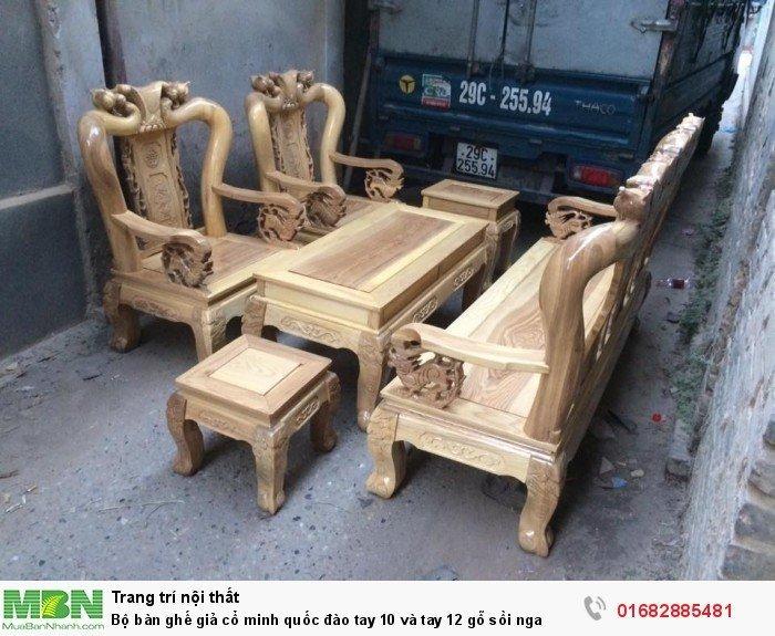 Bộ bàn ghế giả cổ trạm đào gỗ sồi nga4