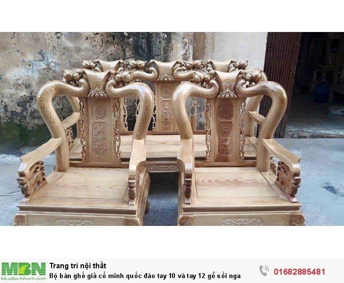 Bộ bàn ghế giả cổ trạm đào gỗ sồi nga5