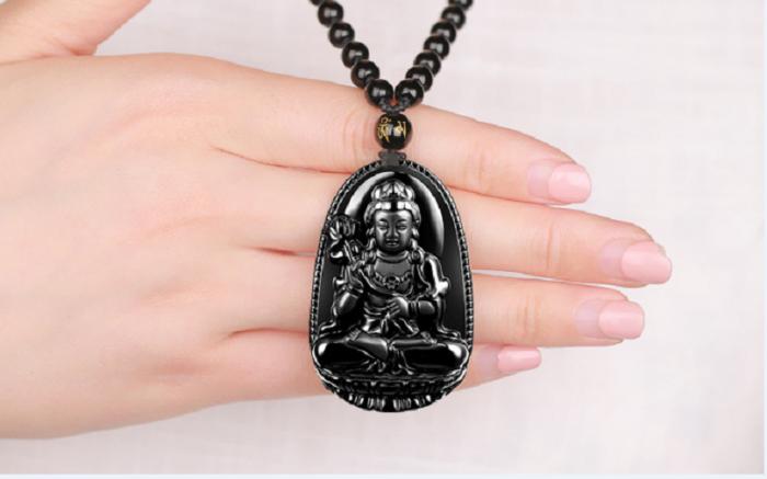 Vòng đá Obisidian tuổi ngọ Phật bản mệnh Đại Thế Chi Bồ Tát0