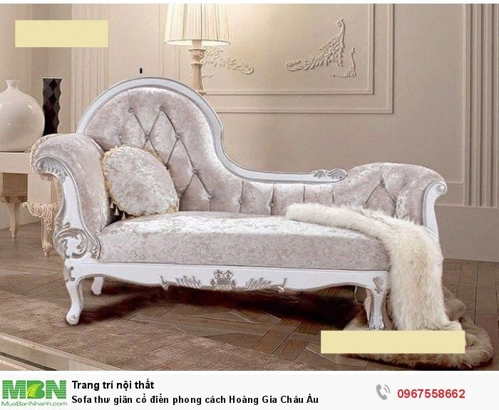 ghế sofa thư giãn màu trắng tân cổ điển10