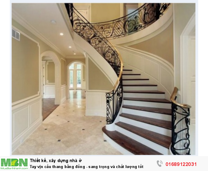 Tay vịn cầu thang bằng đồng - sang trọng và chất lượng tốt