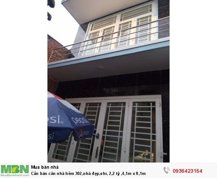 Cần bán căn nhà hẻm 302,nhà đẹp,shr, 2,2 tỷ ,4,1m x 8,1m