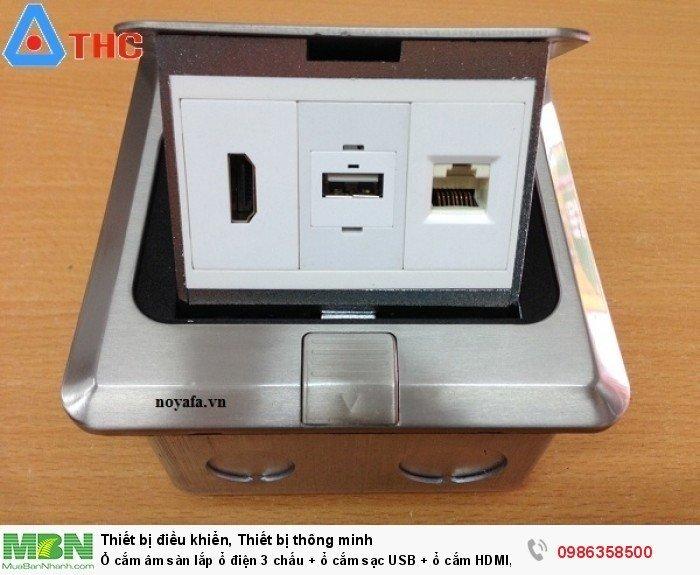 Ổ cắm âm sàn lắp ổ cắm HDMI + ổ cắm dữ liệu USB + mạng RJ454