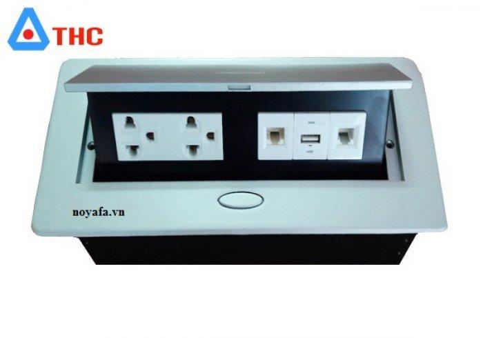 Bộ ổ cắm âm bàn sino amigo lắp nhân điện đôi 3 chấu, USB, mạng, thoại1