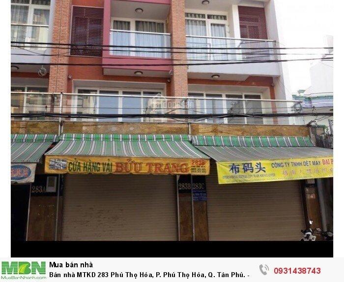 Bán nhà MTKD 283 Phú Thọ Hòa, P. Phú Thọ Hòa, Q. Tân Phú. - Diện tích: 4x22m