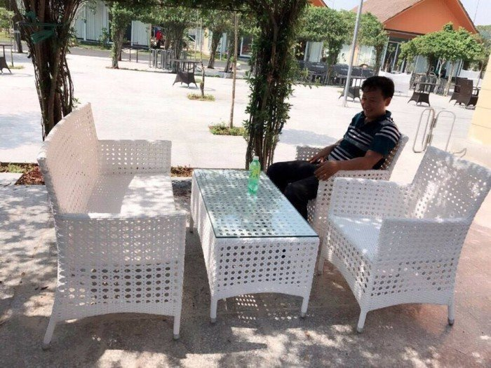 Bộ bàn ghế cafe gả mây1
