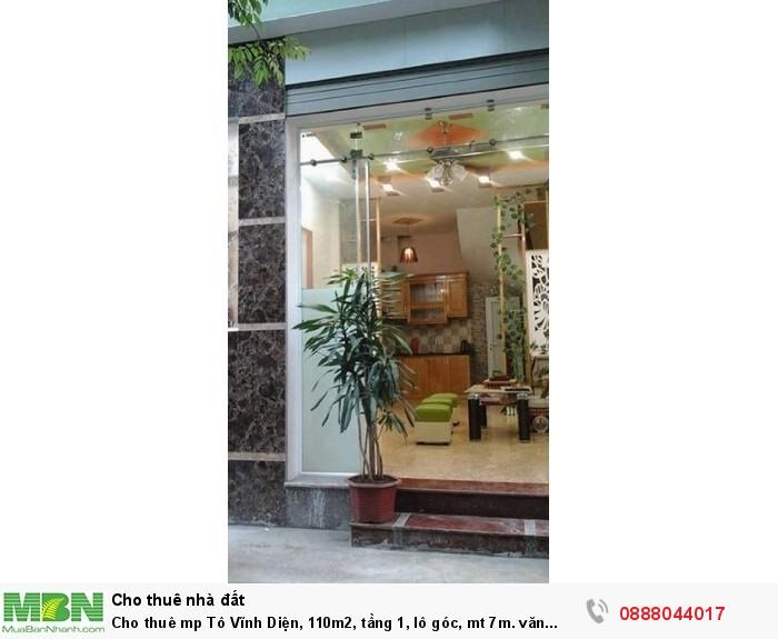 Cho thuê mp Tô Vĩnh Diện, 110m2, tầng 1, lô góc, mt 7m. văn phòng, trụ sở công ty.