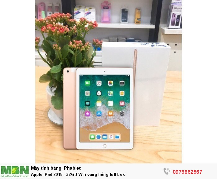 Apple iPad 2018 - 32GB Wifi vàng hồng full box0