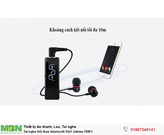 Tai nghe thể thao bluetooth 5in1 Jabees IS90110