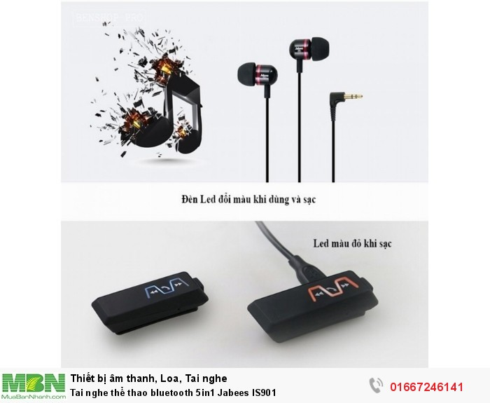 Tai nghe thể thao bluetooth 5in1 Jabees IS90111