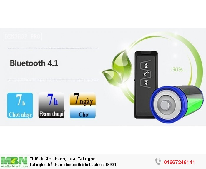 Tai nghe thể thao bluetooth 5in1 Jabees IS90114