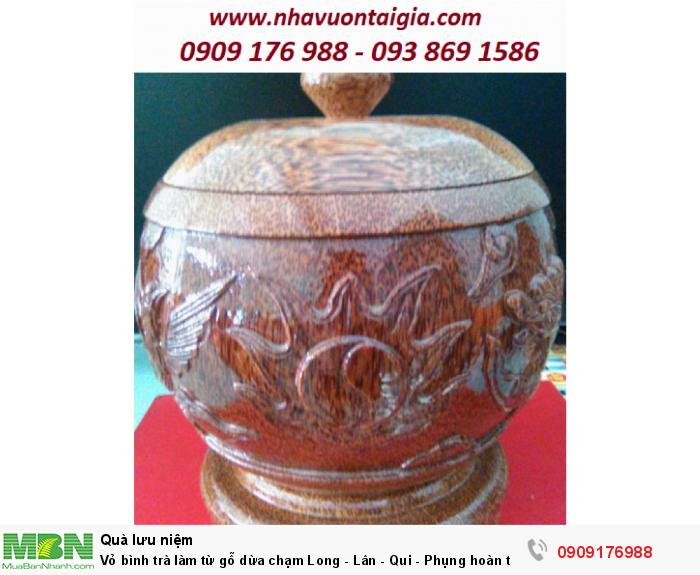 Vỏ bình trà làm từ gỗ dừa chạm Long - Lân - Qui - Phụng hoàn toàn thủ công.0