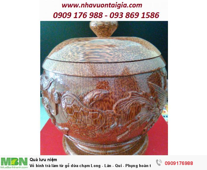 Vỏ bình trà làm từ gỗ dừa chạm Long - Lân - Qui - Phụng hoàn toàn thủ công.2