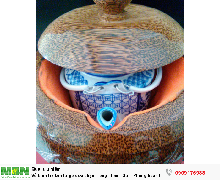 Vỏ bình trà làm từ gỗ dừa chạm Long - Lân - Qui - Phụng hoàn toàn thủ công.3