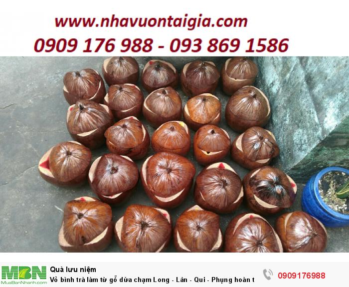 Liên hệ  mua Vỏ bình trà làm từ gỗ dừa chạm
