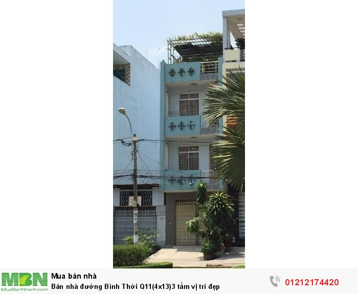 Bán nhà đường Bình Thới Q11(4x13)3 tấm vị trí đẹp